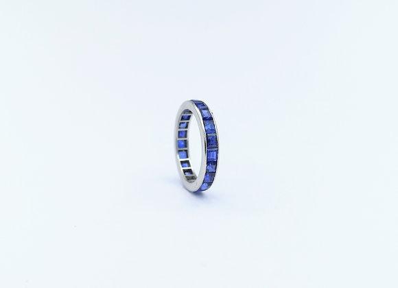 Platinum Square Sapphire Full Eternity Ring