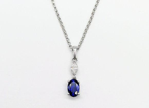 18ct Marquise Diamond & Oval Sapphire Pendant