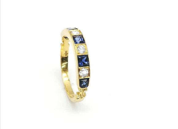 18ct Sapphire & Brilliant Diamond Ring