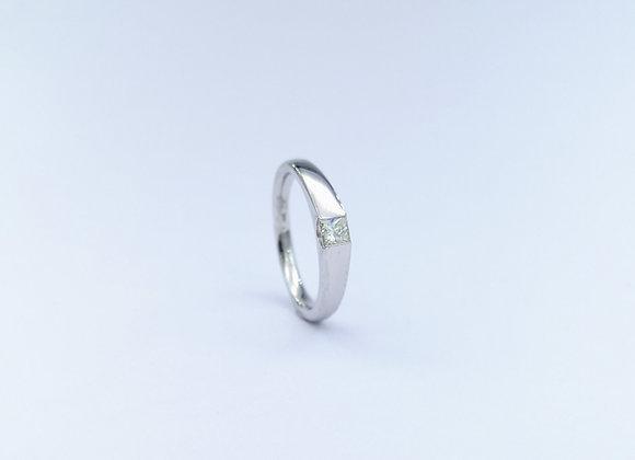 Platinum Square Cut Diamond Rub Over Ring