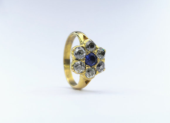 18ct Sapphire & Diamond Cluster 7 Stone Ring