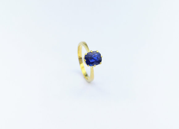 18ct Single Stone Oval Blue Sapphire Ring
