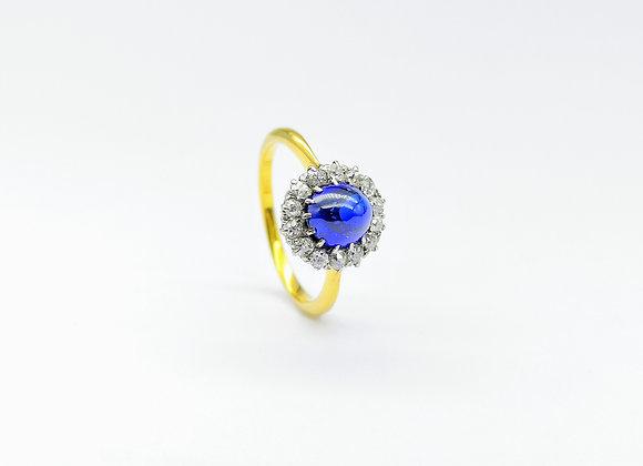 Platinum & 18ct Sapphire Diamond Cluster Ring