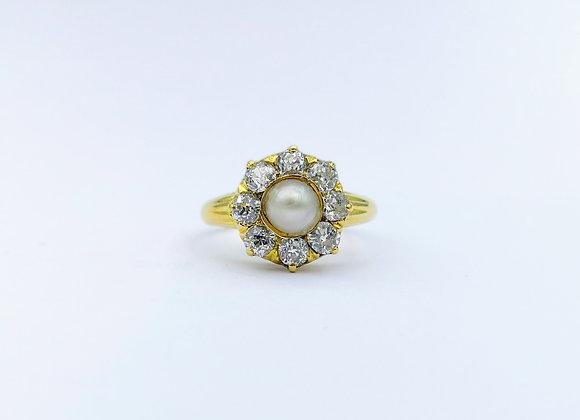 15ct Pearl & Diamond Cluster ring c1880