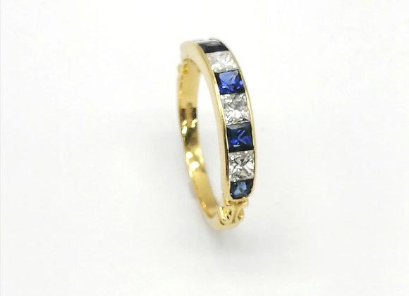 18ct Square Diamond & Sapphire Ring