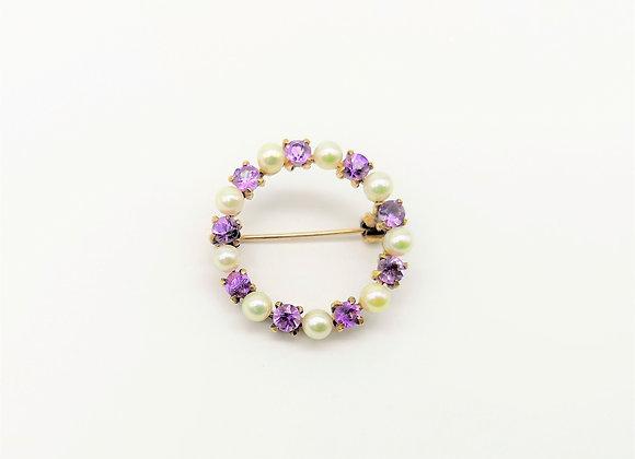 9ct Pearl & Amethyst Circular Brooch