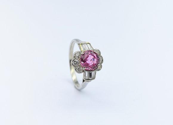 18ct Pink Sapphire & Diamond Ring