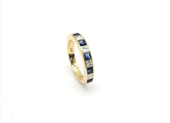 18ct Square Sapphire & Diamond Half Eternity