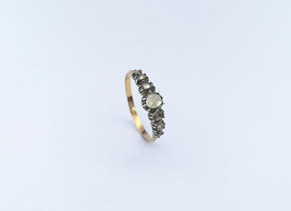 Yellow Gold & Silver Old Cut Diamond Ring