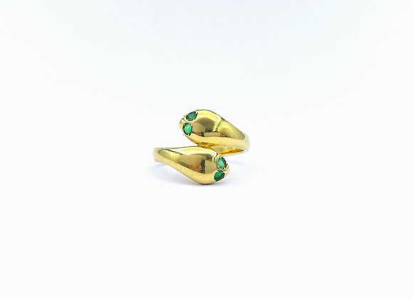 18ct Emerald Snake Head Ring