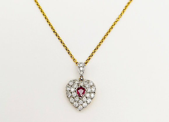 Victorian Ruby & Diamond Heart Pendant