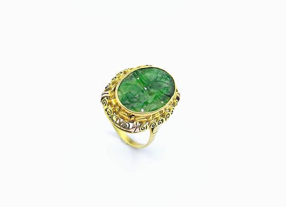 Yellow Gold Oval Carved Jade Dress Ring