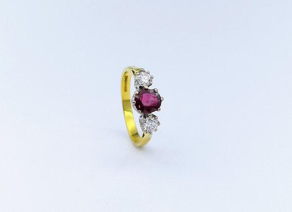 18ct Ruby & Brilliant Diamond 3 Stone Ring