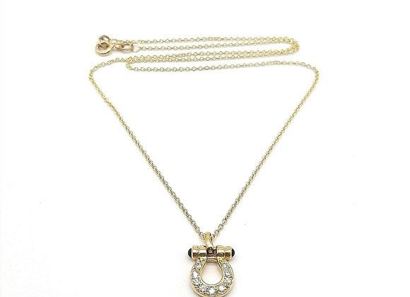 Diamond & Sapphire Bow Shackle Pendant