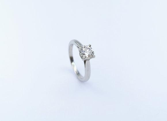 Platinum Single Stone Diamond 4 Claw Ring