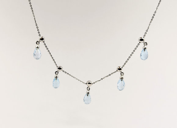 9ct 5 Briolette Aquamarine on Chain