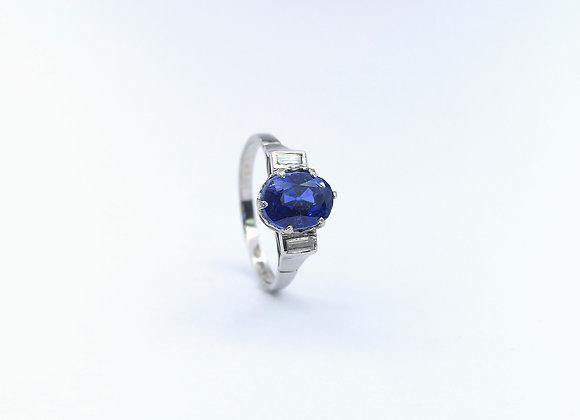 Platinum Sapphire & Baguette Diamonds 3 Stone Ring