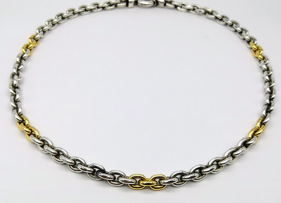 Gold & Silver Oval Link Necklace