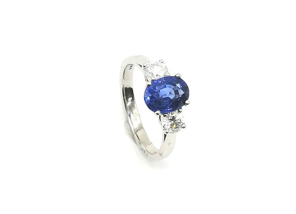 Platinum Sapphire Diamond 3 Stone Ring
