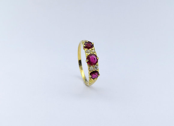 Victorian 18ct Ruby & Diamond Carved Half Hoop Ring