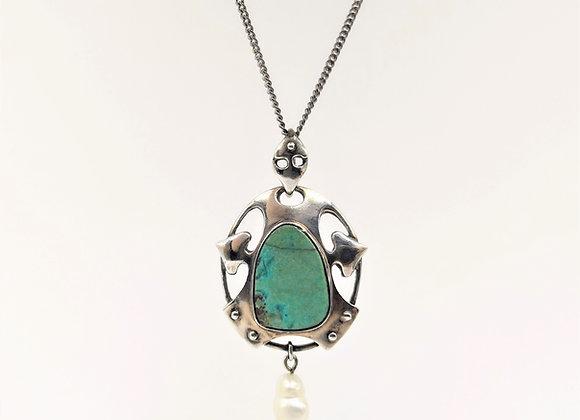 Edwardian Silver Turquoise Pearl Pendant c1910
