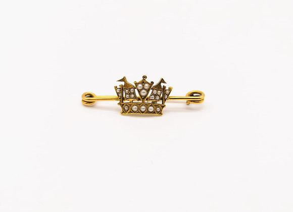 Victorian Pearl Crown Brooch