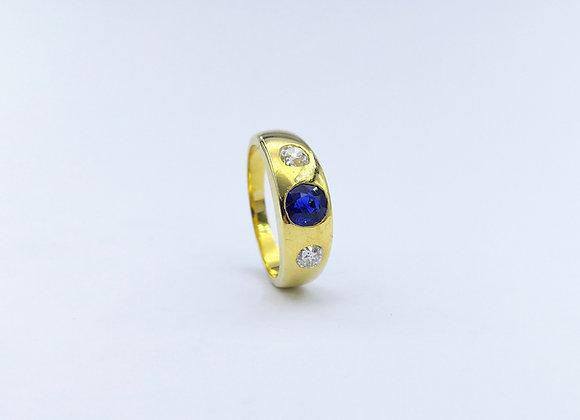 18ct Sapphire & Diamond Gypsy Ring