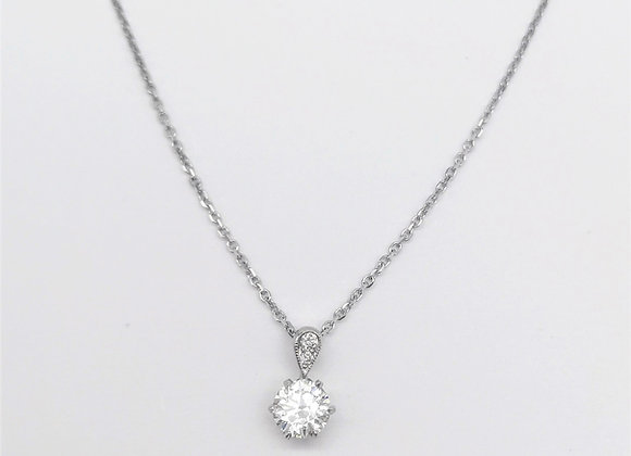 Platinum Single Stone Diamond Pendant 0.65cts