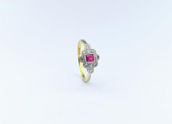 18ct & Platinum Square Ruby & Diamond Ring