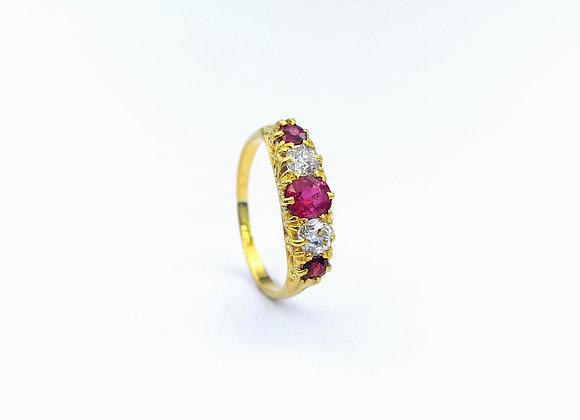 18ct 5 Stone Ruby & Diamond Carved Half Hoop Ring