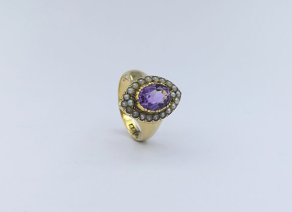 18ct Amethyst & Pearl Cluster Ring