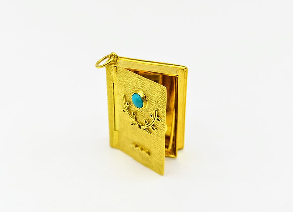 14ct Turquoise Book Charm