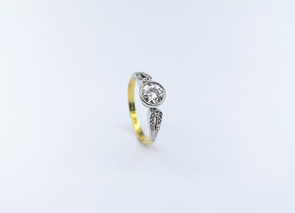 Platinum Diamond Ring With Open Diamond Shoulders