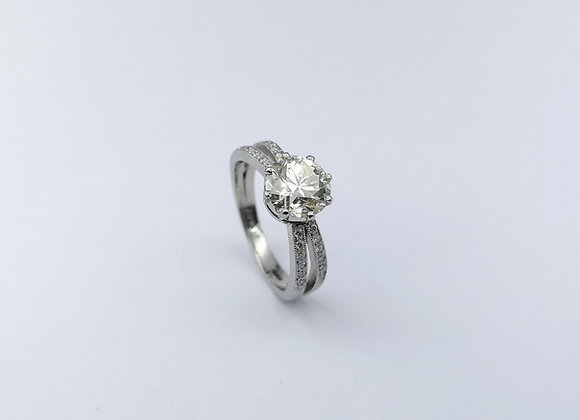 White Gold Single Stone Split Shoulders Diamond Ring