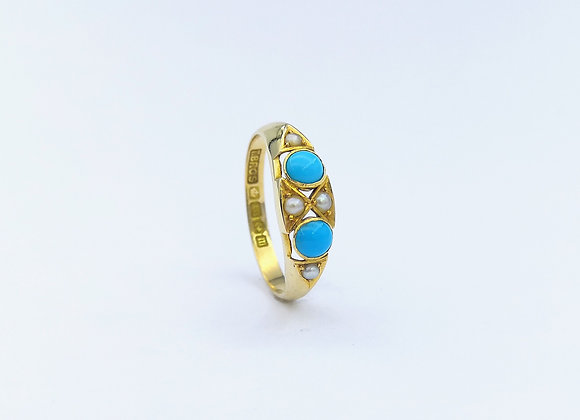 Victorian 18ct Turquoise & Pearl Ring 1886