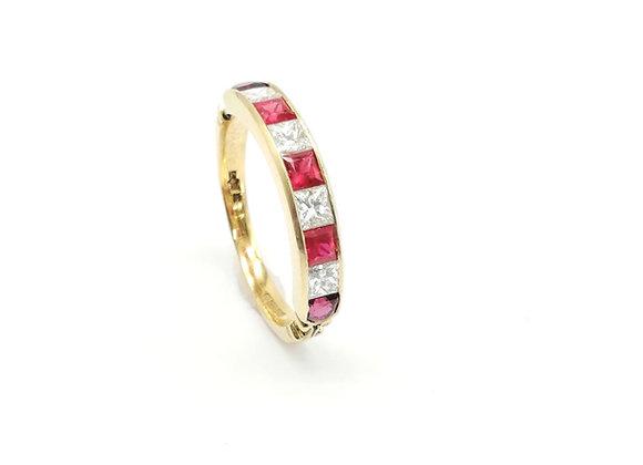 18ct Ruby Diamond 9 Stone Ring