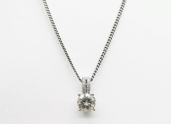White Gold Single Stone Diamond Pendant