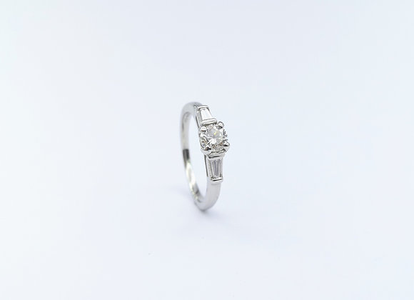 Platinum Brilliant & Baguette 3 Stone Diamond Ring