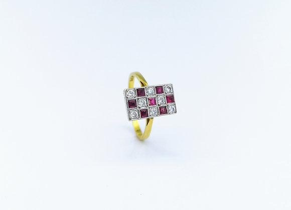18ct Rectangular Ruby & Brilliant Diamond Ring