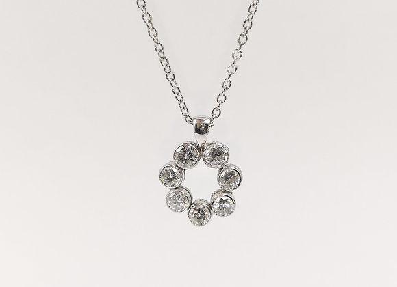 18ct 7 Diamond Open Circle Pendant