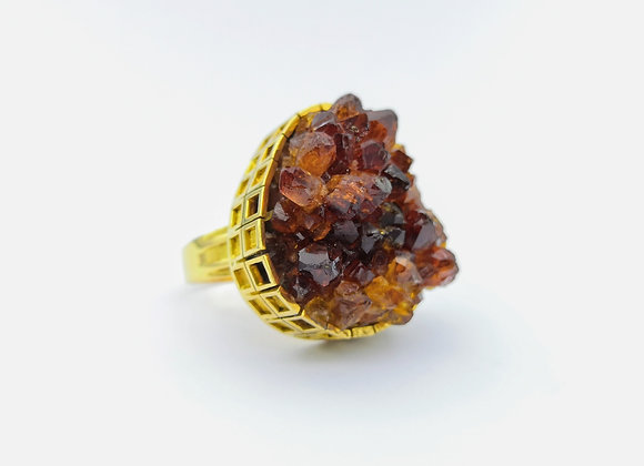 18ct Citrine Crystal Cluster Dress Ring