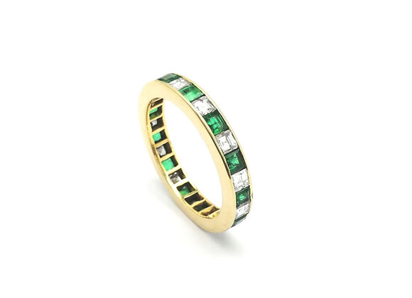 18ct Emerald Diamond Eternity Ring