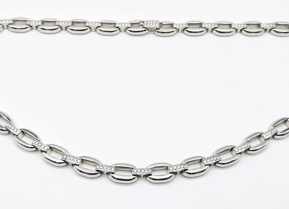 18ct Solid Diamond Link Necklace 3.10cts