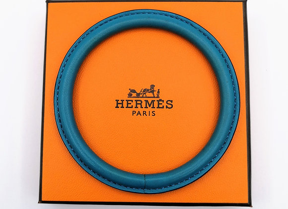 Blue Leather Bangle By Hermes