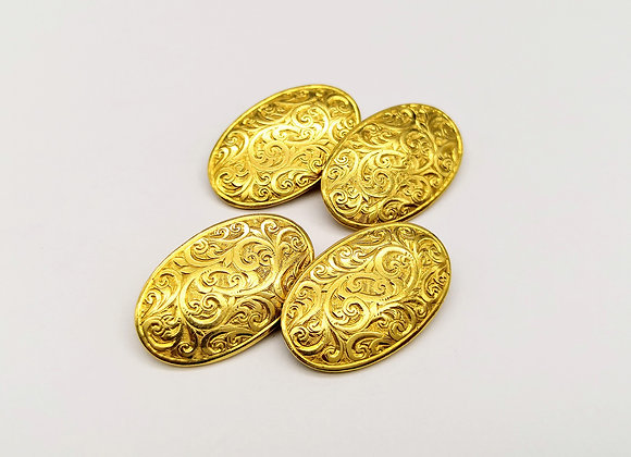 18ct Yellow Gold Victorian Engraved Oval Cufflinks
