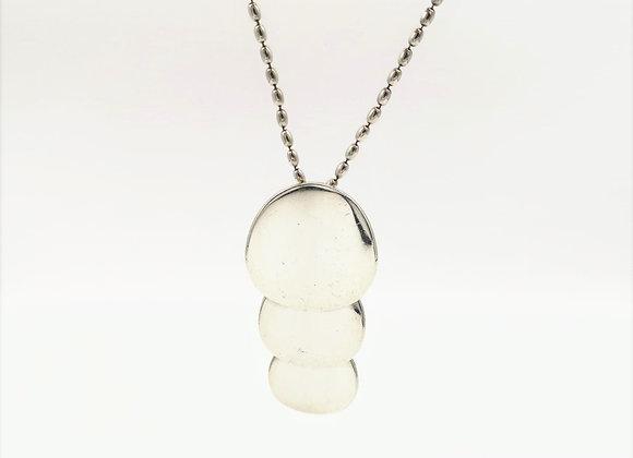 Silver Concave Pendant Necklace