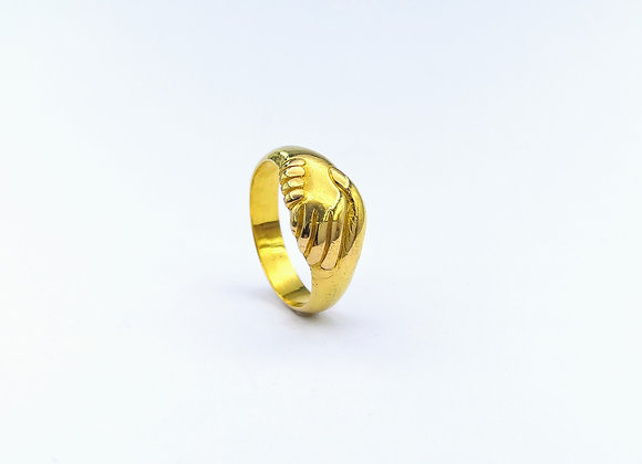 Victorian 18ct 2 Hands Ring