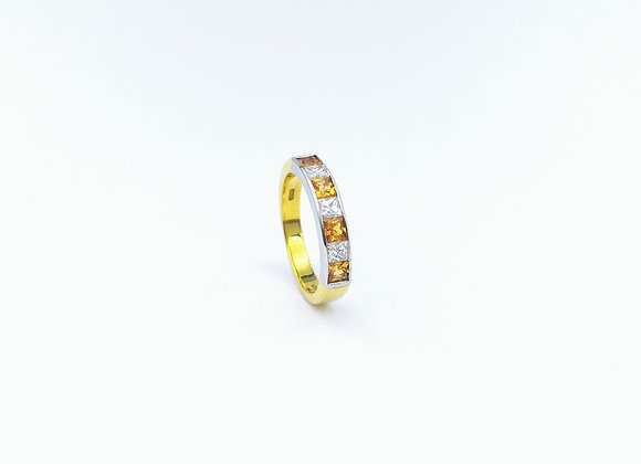 18ct Citrine & Diamond Ring