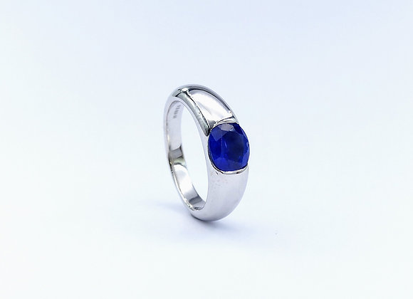 18ct Gypsy Set Oval Sapphire Ring