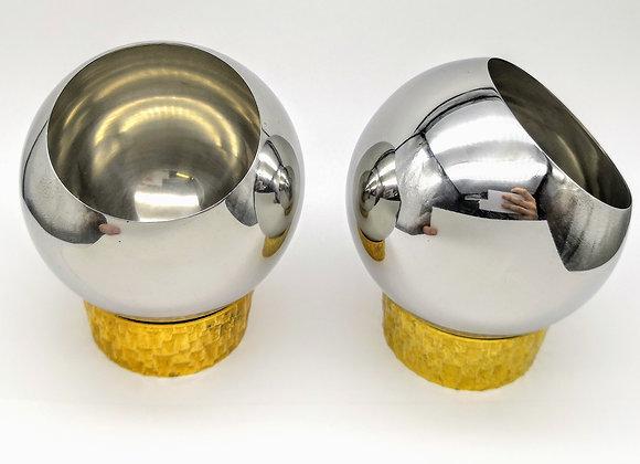 Stuart Devlin Gilt & Steel Bowls